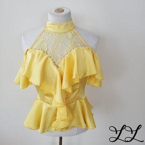 Banjul Top Blouse Yellow Ruffle Cold Shoulder Lace